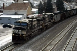 Fuzzy eastbound coal train at Lilly,  Pa